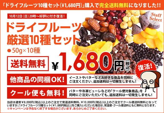 送料無料10種のドライフルーツセット